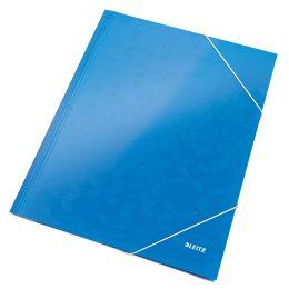 LEITZ Eckspannermappe WOW, DIN A4, Karton, blau-metallic