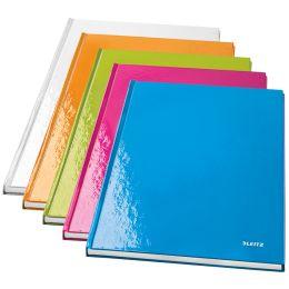 LEITZ Notizbuch WOW, DIN A4, kariert, blau metallic
