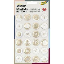 folia Adventskalender-Buttons PERLMUTT, aus Blech, 1 - 24