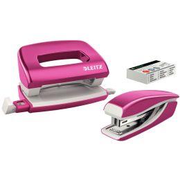 LEITZ Heftgerät- & Locher-Set Mini Nexxt WOW, pink-metallic