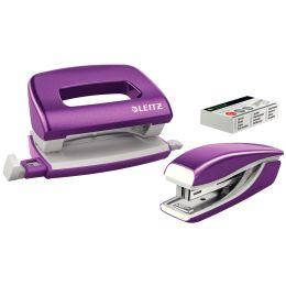 LEITZ Heftgerät- & Locher-Set Mini Nexxt WOW, violett