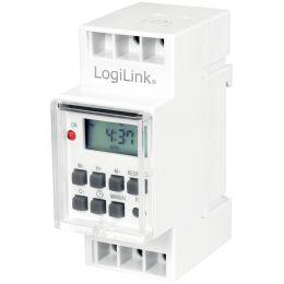 LogiLink Digitale Zeitschaltuhr zur Hutschienenmontage, weiß