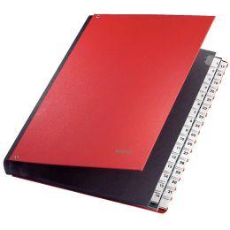 LEITZ Pultordner, A4, 1-31, 32 Fächer, Kunststoff, rot