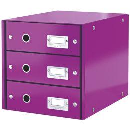 LEITZ Schubladenbox Click & Store WOW, 3 Schübe, violett