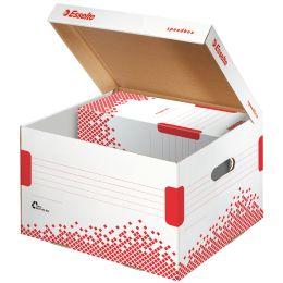Esselte Archiv-Klappdeckelbox SPEEDBOX, Große: M, weiß/rot,