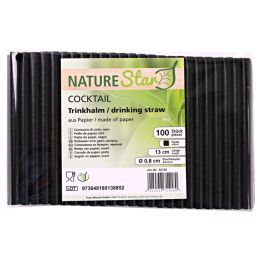 NATURE Star Papier-Trinkhalm Cocktail, 130 mm, schwarz