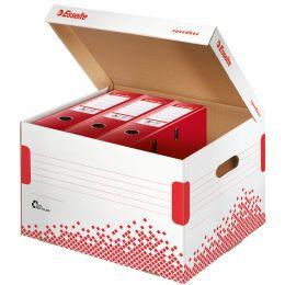 Esselte Archiv-Klappdeckelbox SPEEDBOX, für Ordner, weiß/rot