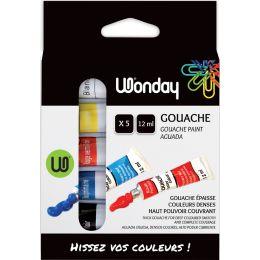Wonday Gouachefarbe 12 ml, farbig sortiert, 5er Etui