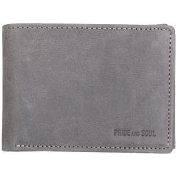 PRIDE&SOUL Mini-Geldbörse RFID, im Querformat, Leder, grau