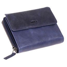 MIKA Damengeldbörse, aus Leder, Farbe: navy