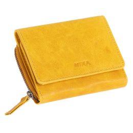 MIKA Damengeldbörse, aus Leder, Farbe: gelb