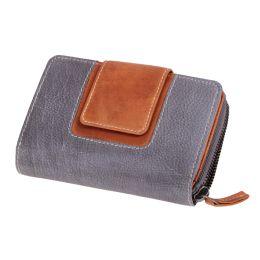 MIKA Damengeldbörse, aus Leder, Farbe: grau-braun