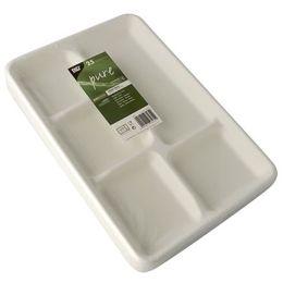 PAPSTAR Zuckerrohr-Menü-Tray pure, 5-geteilt, weiß