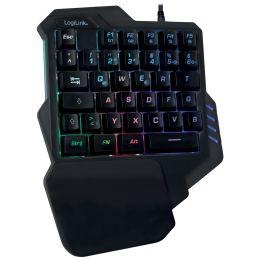 LogiLink Beleuchtete Einhand-Gaming Tastatur, schwarz