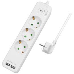 LogiLink Steckdosenleiste, 3-fach + 2x USB, weiß