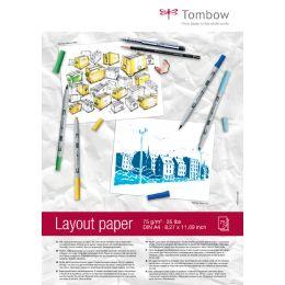 Tombow Layoutblock, DIN A4, blanko, 75 g/qm, weiß