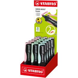 STABILO Textmarker GREEN BOSS Pastel, 15er Karton-Display