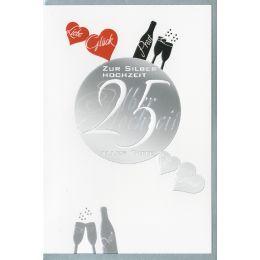 HORN Hochzeitskarte - Silberhochzeit - Folienmotive -