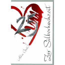 HORN Hochzeitskarte - Silberhochzeit - Rotes Herz -