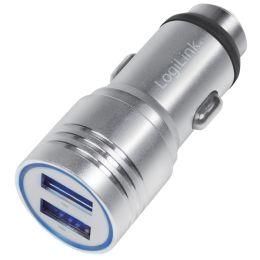 LogiLink USB-KFZ-Ladegerät, 2-fach, integrierter Nothammer
