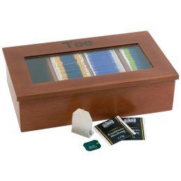 APS Teebox, aus Holz, 4 Kammern, dunkelbraun