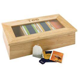 APS Teebox, aus Holz, 4 Kammern, hellbraun