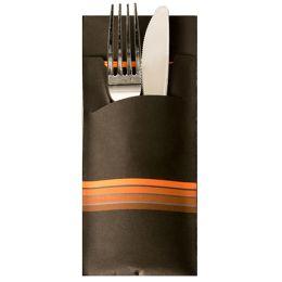 PAPSTAR Servietten-Tasche Stripes, schwarz / orange