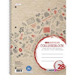 LANDRÉ Collegeblock Recycling, DIN A4+, kariert, 80 Blatt