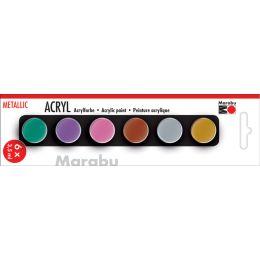 Marabu Acrylfarben-Set METALLIC, 6 x 3,5 ml