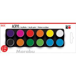 Marabu Acrylfarben-Set BASIC, 12 x 3,5 ml