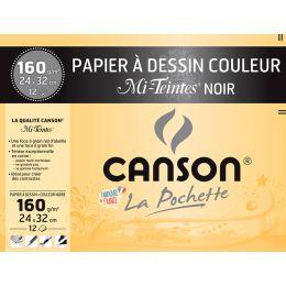 CANSON Zeichenpapier Mi-Teintes, 320 x 240 mm, schwarz