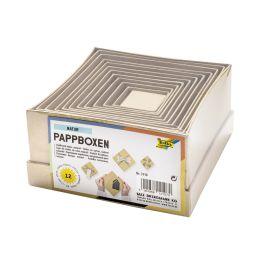 folia Pappboxen NATUR, eckig, 12 Stück sortiert