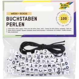 folia Buchstaben-Perlen, eckig, 100 Stück, weiß
