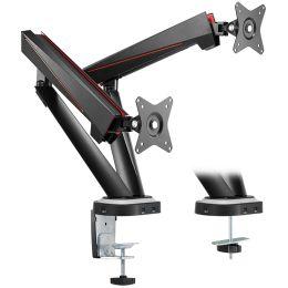 LogiLink Gaming Doppel-Monitorarm, Armlänge: 480 mm, schwarz