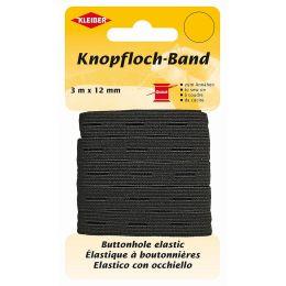 KLEIBER Knopflochband, 12 mm x 3 m, schwarz