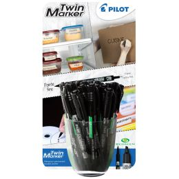 PILOT Permanent-Marker Twin Marker, schwarz, 30er Display