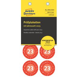 AVERY Zweckform Prüfplaketten, 2023, NoPeel, rot, 30 mm