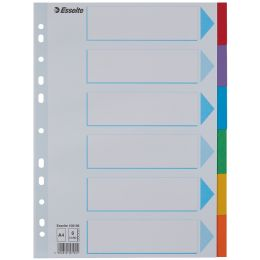 Esselte Karton-Register, blanko, A4, 6-teilig, mehrfarbig