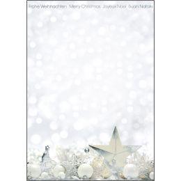 sigel Weihnachts-Motiv-Papier White Stars, A4, 90g/qm