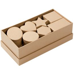 folia Pappschachteln, Karton, 15-teilig, natur