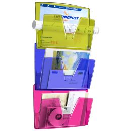 CEP Wandprospekthalter 3er Set, DIN A4, 1 Fach, glasklar
