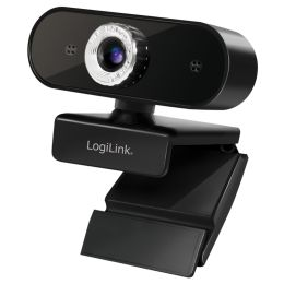 LogiLink Pro Full-HD-USB-Webcam mit Mikrofon, schwarz
