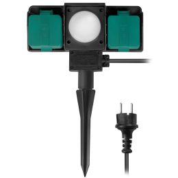 LogiLink Gartensteckdose mit Erdspieß, 2-fach, mit Sensor