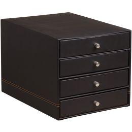 RHODIA Schubladenbox, aus Kunstleder, 4 Schübe, schwarz