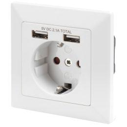 DIGITUS Unterputz-Steckdose, weiß, mit 2x USB-Port, weiß