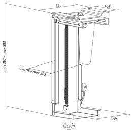 LogiLink CPU-Halter, aus Metall, drehbar, Schnellverschluss
