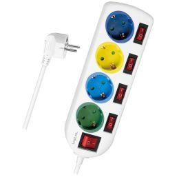 LogiLink Steckdosenleiste, 4-fach mit 5 Schaltern,mehrfarbig