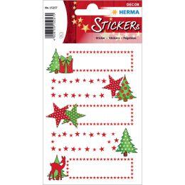 HERMA Weihnachts-Sticker DECOR Sterne & Tanne, beglimmert