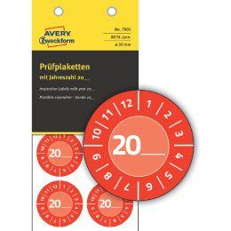 AVERY Zweckform Prüfplaketten zum Selbsteintragen 20XX, rot