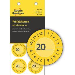 AVERY Zweckform Prüfplaketten zum Selbsteintragen 20XX, gelb